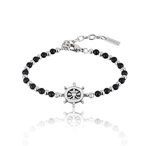 Gioiello breil collezione black onyx, bracciale da uomo in acciaio, pietre naturali colore altro misura 22,5cm con con pietre - tj2408