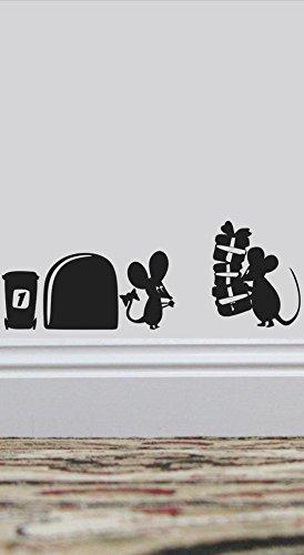 uksellingsuppliers Souris Trou Mouse présente Plinthe Sticker Mural en Vinyle 19 cm x 5 cm