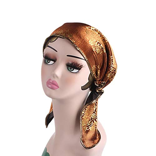 SuperSU Vintage Style gefaltet Turban ideal für Kostüme Mode Chemo Hut Beanie Schal Turban Kopf Wrap Cap Retro Heißprägen Muslim Kopfkappe Turban Kopftuch für Krebs Patienten (Gold) (Muslim Kostüme Für Männer)
