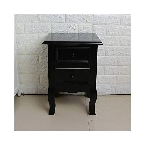 ZXPzZ Massivholz Nachttisch 2 Schubladen Nachttisch Schlafsofa Aktenschrank Wohnzimmer Schrank Beistelltisch (Größe: 34x30x50cm) (Color : Black) (Aktenschrank Beistelltisch)