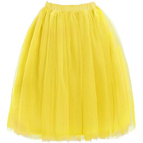 Babyonline Damen Tüllrock 5 Lage Prinzessin Kleider Knielang Petticoat Ballettrock Unterrock Pettiskirt Swing XL (Rocker Reverb)