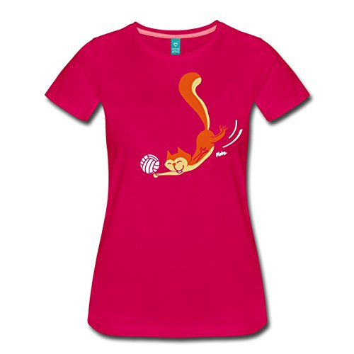 Spreadshirt Volleyball Eichhorn Frauen Premium T-Shirt, 3XL, Dunkles Pink