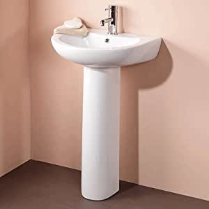 Modern Bathroom Hand Wash Basin Full Pedestal 1 Tap Hole En Suite And Cloakroom Floor