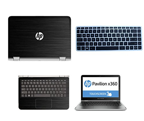 Schwarz Gebürstet Aluminium Haut Aufkleber Wrap Haut Case + Semi Schwarz Tastatur Cover für HP Pavilion x3601313-s020nr 13-s067nr 13-s099nr 13-s120nr 13-s199nr 33,8cm Touch Laptop (Skins Für Hp Pavilion X360)