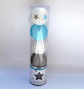 Lichterkette 10Kugeln LED Taupe und Blau
