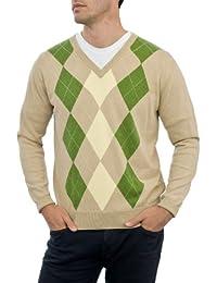Wool Overs Pull Argyle à col V homme en cachemire et coton
