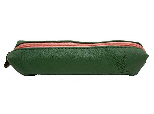 Estuche de Diseño Clasico VINTAGE Retro de Cremallera Poli Piel Impermeable con forro interior Color VERDE 4417
