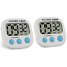 BESTIM INCUK 2Pack Digital de cocina temporizador cronómetro con pantalla LCD de gran tamaño, grandes dígitos, Loud Alarma, base magnética, soporte para cocinar, hornear y más, color blanco