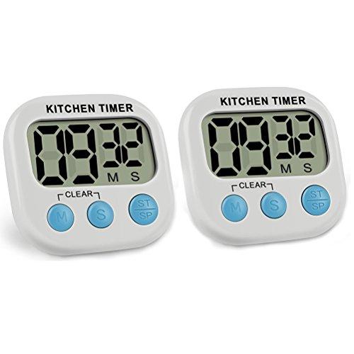 ck Digital Küche Timer Stoppuhr mit großem LCD-Display, Big Ziffern, lauter Alarm, magnetischer Rückseite, Ständer für Kochen, Backen und mehr, Weiß (Klassenzimmer Stoppuhr)