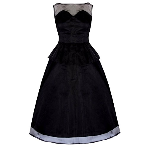 Lindy Bop Damen Kleid Schwarz Schwarz Gr. 16, Schwarz - Schwarz (Lindy Bop Vintage Kleider Schwarz)