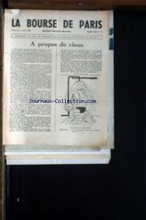 BOURSE DE PARIS (LA) [No 11] du 01/04/1949 - A PROPOS DE CLOUS
