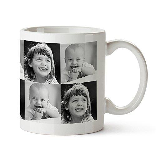 Tassenwerk Kaffeebecher mit Fotodruck - Personalisiert mit [Fotos] - Individuelle Teetasse mit Foto-Collage - Bedruckte Tasse - Keramiktasse als Geschenkidee für Männer und Frauen zum Geburtstag