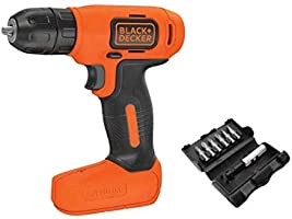 Black+Decker Lithium-Ion Compact Cordless Drill, Orange/Black, 7.2V, BDCD8-B5