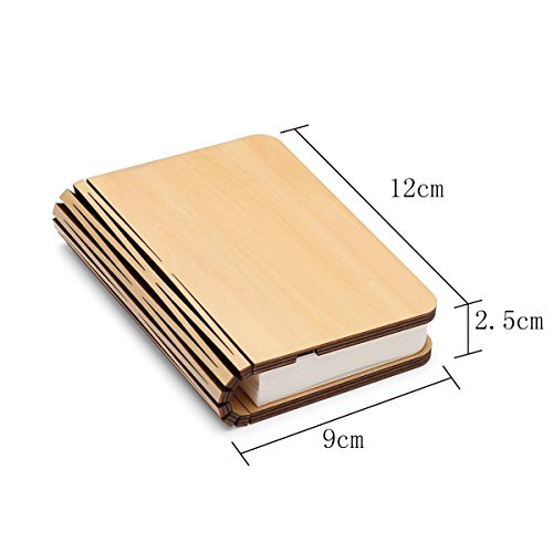 Wooden Book Lamp,Mini Folding Book Light Magnetic USB Rechargeble 880mAh lithium batteries Led Desk Table Lamp for decor,Anniversary or Valentine's gift for her-Warm White