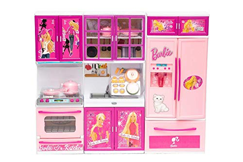 VBE Beauty Vogue Kitchen with Opening Doors of Oven, Fridge, Sink and Kitchen Cabinet Set for Kids (Color : Pink)