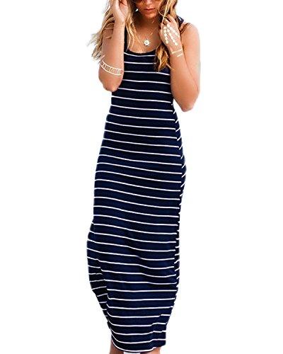 Überprüfen Sie Die Muster Mens Kleid Shirt (ZANZEA Damen Ärmelloses Langes Streifen Stretch Strandkleid Sommer Baumwolle weiches Kleid Blau EU 40)