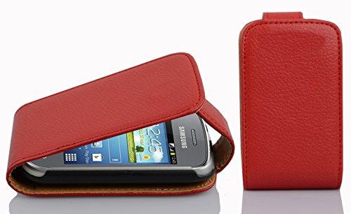 Preisvergleich Produktbild Cadorabo Hülle kompatibel mit Samsung Galaxy Pocket NEO Hülle in Inferno ROT Handyhülle aus Strukturiertem Kunstleder im Flip Case Cover Schutzhülle Etui Tasche