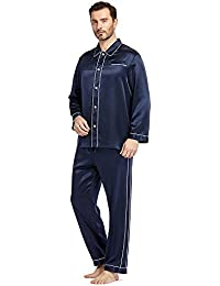 8448293e72 LILYSILK Men s 100% Silk Pyjamas Full Length Long Contrast Trim 22 Momme  Pure Mulberry Silk