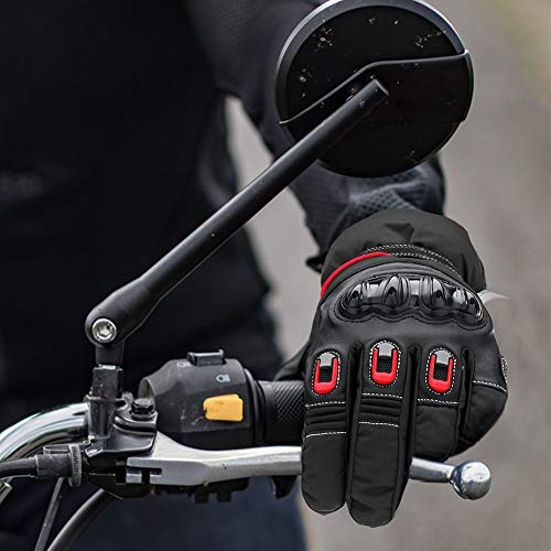 Guantes Moto Invierno Impermeable Hecho de 3M Thinsulate Pantalla Táctil Guantes Protectores de Motociclismo Invierno, y cálido, para hombre mujer