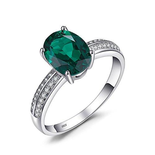 JewelryPalace 1.64ct Elégant Bague Femme en Argent Sterling 925 en Emeraude de Synthèse Verte Taille 57