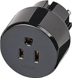 Brennenstuhl Reisestecker / Reiseadapter (Reise-Steckdosenadapter für: Schuko Steckdose und USA & Japan Stecker) schwarz