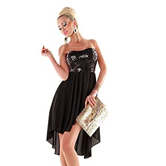 Fashion Damen Pailletten Abend Kleid Silvester Bandeau ...