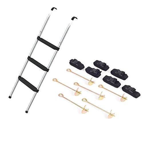 Ampel 24 Klassik Trampolin Leiter 110 cm lang mit 3 Breiten Stufen & 6 Erdanker zum Eindrehen mit verstellbarem Gurt zur Sicherung bei Wind