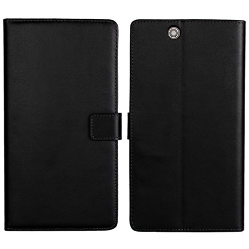 Sony Xperia Z Ultra XL39h Fall, icovercase Echt Leder [Slot] Brieftasche Flip Phone Shell [Magnetverschluss] Schutzhülle mit Ständer für Sony Xperia Z Ultra XL39h C6802C6806C6833(Schwarz)