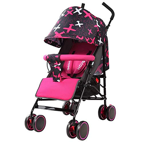 Baobcher Strollers For Toddlers Ligeras y Plegables Baby Sitting y Lying Comfort Shock Absorber Cart 0-3 Years Old (Color : Red)