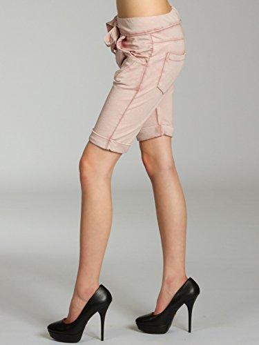CASPAR BST008 Damen stonewashed Boyfriend Jersey Shorts / Bermudas Altrosa