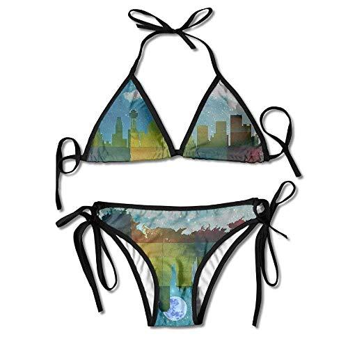 Fashion Women Dallas City Skylines Amazing Printing Sexy Two-Piece Bikini Set Beach Bathing Suit