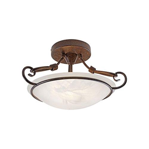 Deckenleuchte Alabaster-Dekor Glas, Landhaus Romantik antik rustikal Edel-Rost, E14 LED-fähig Wohnzimmer Deckenlampe (Deckenleuchte 37cm, abgehängt)
