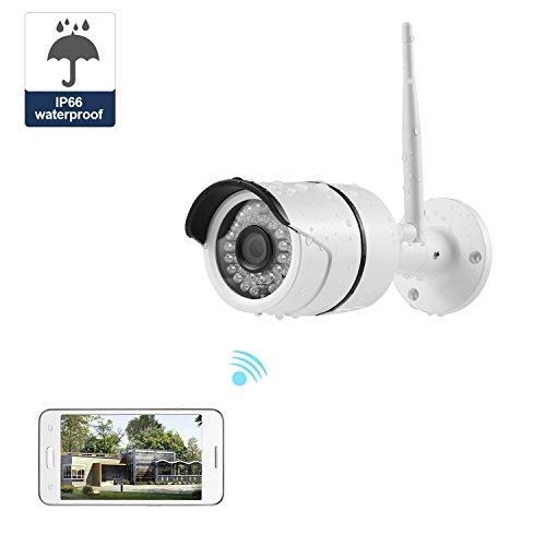 NexGadget IP Videocamera di Sorveglianza all'aperto Impermeabile Wifi Wireless IP Telecamera con HD Visione Notturna a Raggi Infrarossi Allarme di Movimento Plug&Play (Bianca)