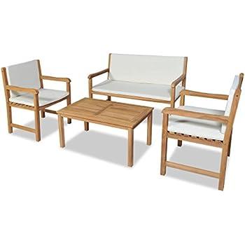 2 Chaise Festnight 12pcs Salon de Jardin en Bois de Bambou 1 ...