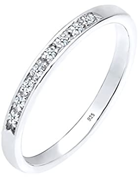 Diamore Damen-Ring Klassisch 925 Silber Diamant (0.08 ct)