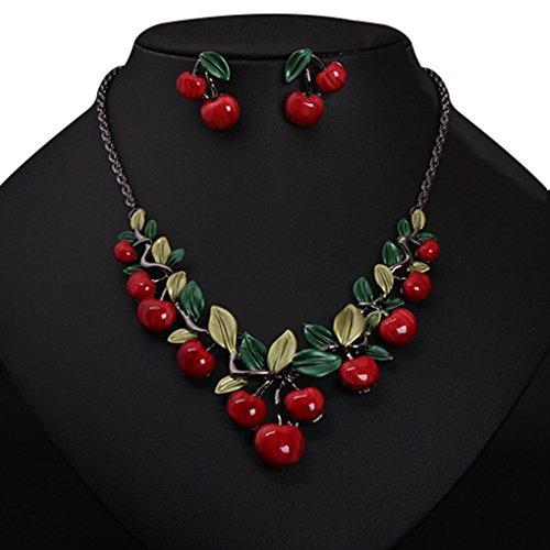Bobury Pendientes collar cereza roja Set Joyería