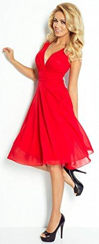 Glamour Empire Damen Chiffon Schaukel Kleid Skaterkleid Tiefem V-Ausschnitt. 253 Rot