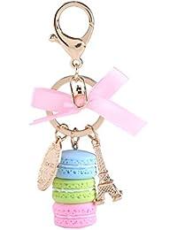 Porte-clé en Résine et Alliage Porte-clé Mignon en Forme Macaron avec Tour Eiffel (bleu)