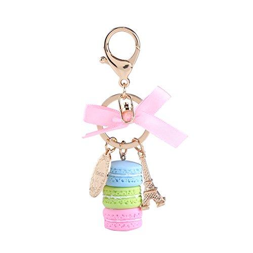 Keychain Ring Eiffelturm Macaron Charme Schlüsselbund Tasche Geldbörse Dekoration für Kinder Geburtstagsgeschenk(Lila) ()