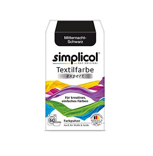 simplicol Textilfarbe expert für kreatives, einfaches Färben, Mitternacht-Schwarz 1718 - Farbe für Waschmaschine oder manuelles Färben (Handwäsche, Viskose)