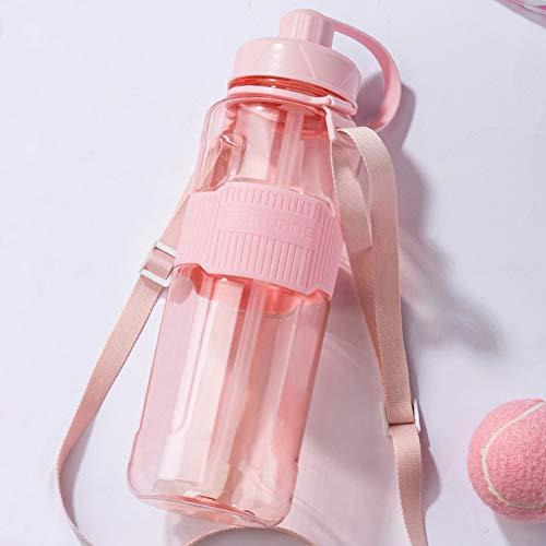 ZZXXBB Tasse Flasche Kunststoff, Leicht Zu Tragen Stroh Tasse Große Kapazität Outdoor Sports Karaffen Auslaufsichere-rosa C 32x10cm(13x4inch) -