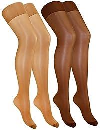 EveryHead Riese 2er, 3er oder 5er Pack Feinstrumpfhosen Damenstrumpfhosen Sparpack Markenstrumpfhosen Satin Sheers für Damen (RS-10204-S18-DA3) inkl Hutfibel