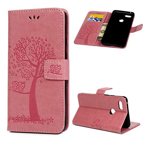 Edauto Google Pixel 3 XL Hülle Flip Case Eule Baum HandyHülle Leder Schutzhülle Handycover Bookstyle Brieftasche Ständer Kartenfächer Magnetverschluss Tasche Rosa