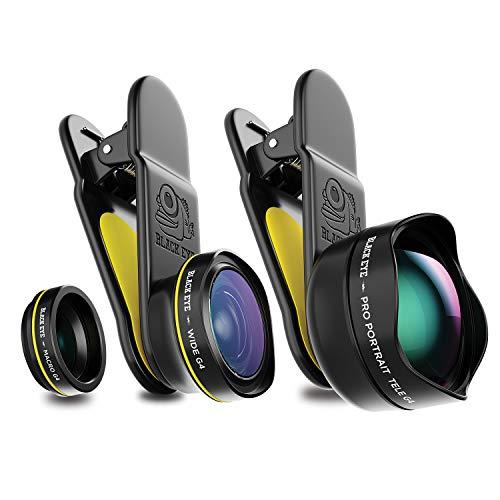 Black Eye Travel Kit G4 Kombo-Paket mit Pro Portrait Tele G4, Macro G4 und Wide G4 (Inklusive Reisetasche, Universelle Clip-Befestigung, 160° Weitwinkel-, 15-fach Makro und 2,5-fach Teleobjektiv)