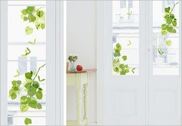 Adesivi elettrostatici per vetri di finestre decorazioni foglie verdi - Adesivi natalizi per finestre ...