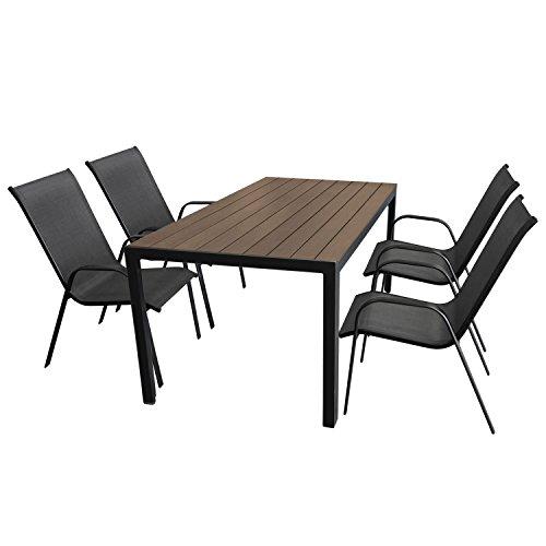 Wohaga Gartenmöbel-Set Aluminium Gartentisch mit Polywood-Tischplatte 150x90cm + 4X Stapelstuhl mit anthrazitfarbener Textilenbespannung, Gestell pulverbeschichtet Schwarz