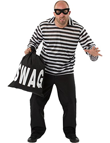 Mens Burglar Bill Thief Robber Criminal SWAG Fancy Dress Costume Extra Large