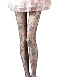 Sensail Collants Femme Collants Bas Collants en Soie Collants Imprimé  Fleurs de rose 6e8fb9100cd