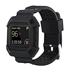 Greatfine Blaze Straps, Frame Rugged Protective Case With Strap Bands For Fitbit Blaze Smartwatch Straps Watch Sport Replacement Band (Blaze Black)