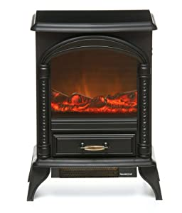 Beldray Keswick Electric Stove, 2000W, Black Cast Iron Effect, 2 Heat Setting, LED Flame Effect, Log Burner Effect,